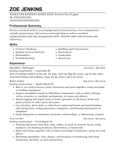 Pipe fitter resume template Florida