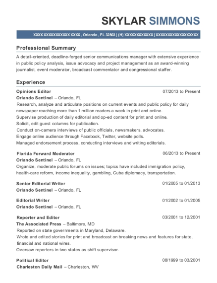 Opinions Editor resume example Florida