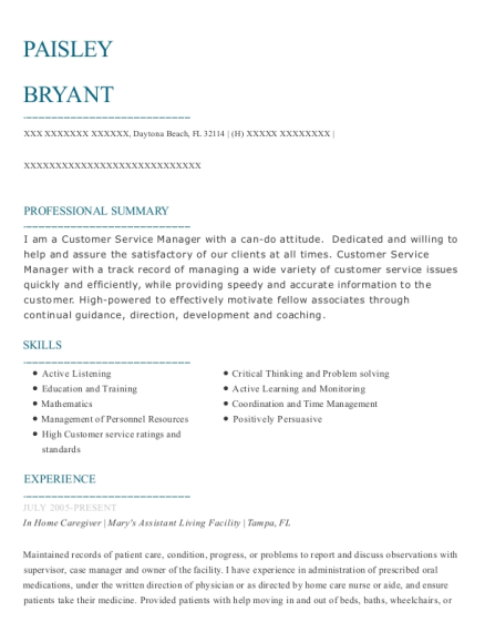 In Home Caregiver resume format Florida