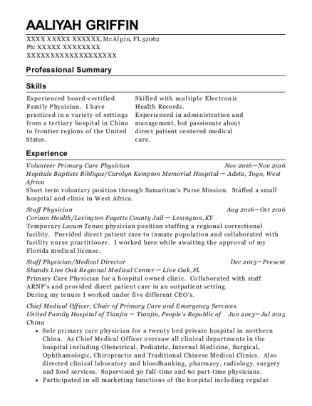 Volunteer Primary Care Physician resume format Florida