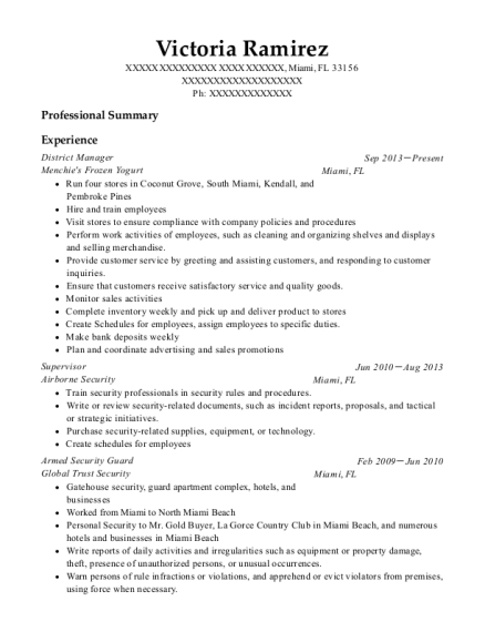 District Manager resume template Florida