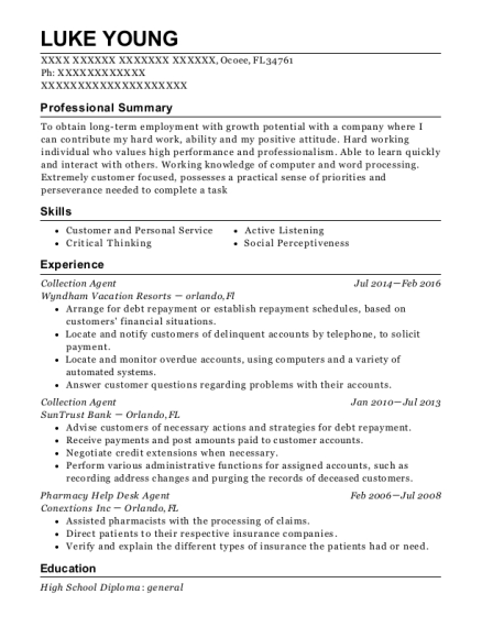 Collection Agent resume example Florida