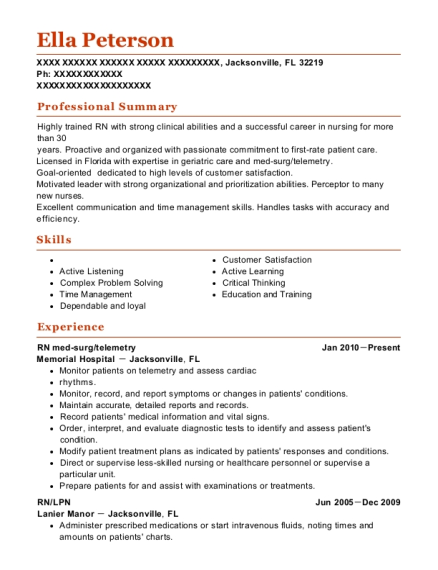 RN med surg resume format Florida