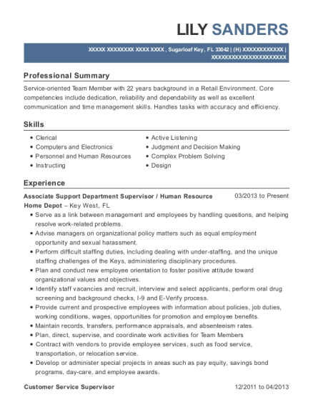 Associate Support Department Supervisor resume sample Florida