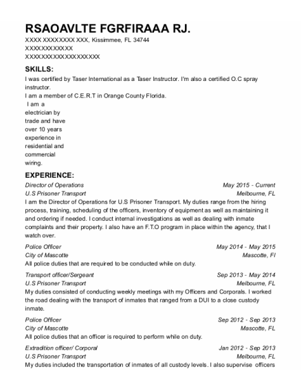 Director of Operations resume format Florida