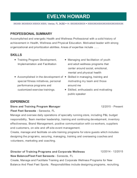 Store and Training Program Manager resume example Florida