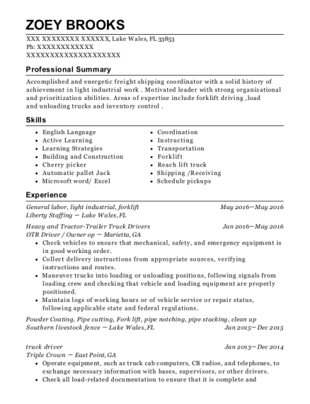 General labor resume template Florida