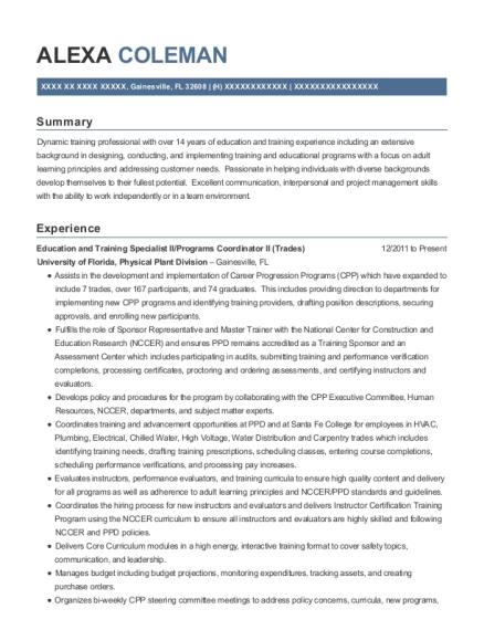 Education and Training Specialist II resume template Florida