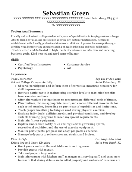 Yoga Instructor resume template Florida