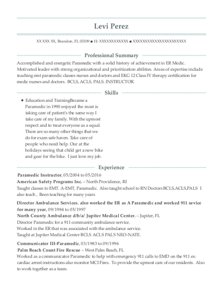 Paramedic Instructor resume example Florida