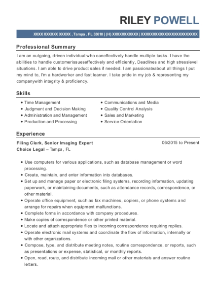Filing Clerk resume sample Florida