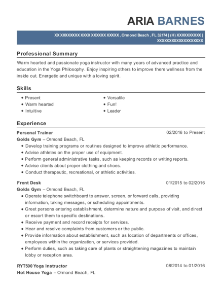 Personal Trainer resume example Florida