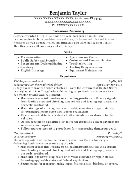contractor over the road truck driver resume format Florida