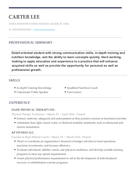 Physical Therapy Technician resume example Florida