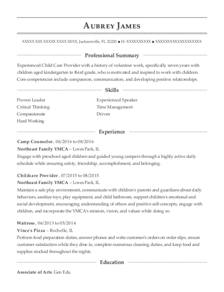Camp Counselor resume sample Florida