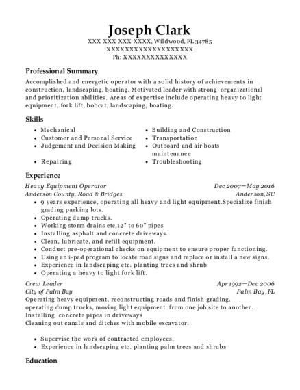 Heavy Equipment Operator resume format Florida