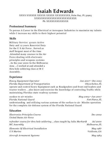 Heavy Equipment Operator resume template Florida