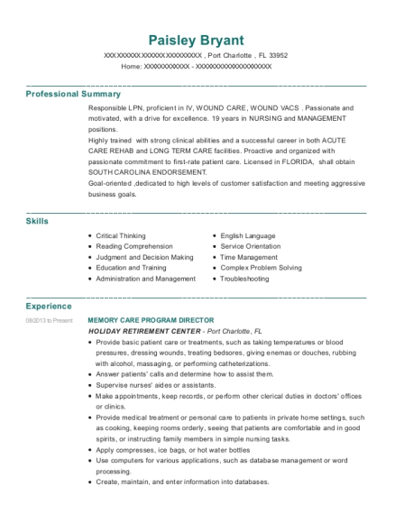 MEMORY CARE PROGRAM DIRECTOR resume example Florida
