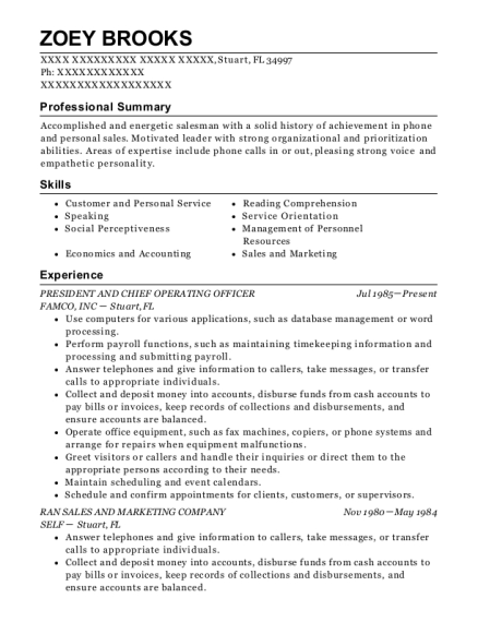 PRESIDENT AND CHIEF OPERATING OFFICER resume format Florida