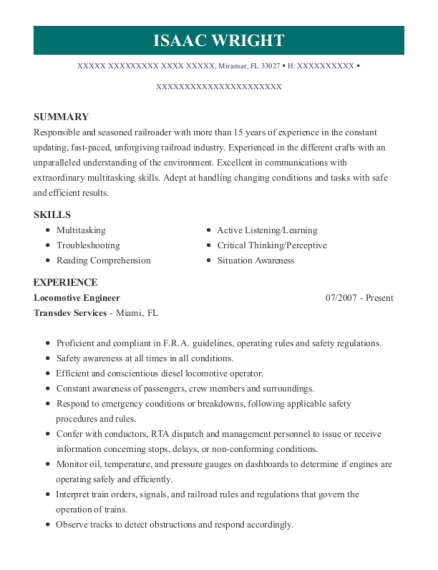 Locomotive Engineer resume example Florida