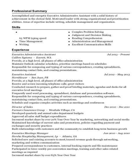 Executive Administrative Assistant resume format Florida
