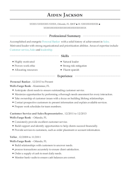Personal Banker resume example Florida