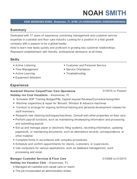Assistant Director Carpet resume example Florida
