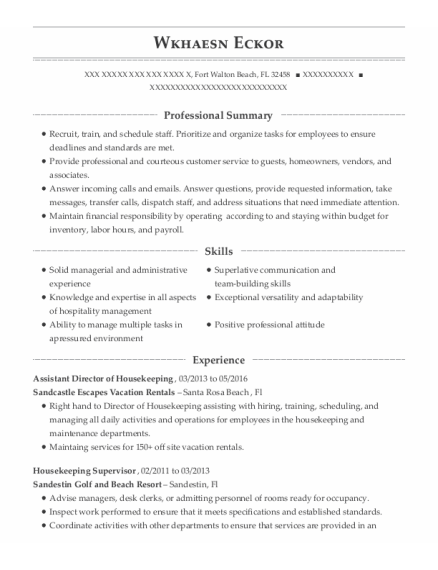 Assistant Director of Housekeeping resume format Florida