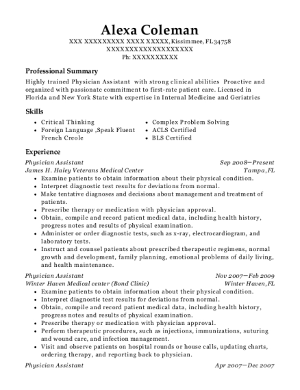 Physician Assistant resume sample Florida