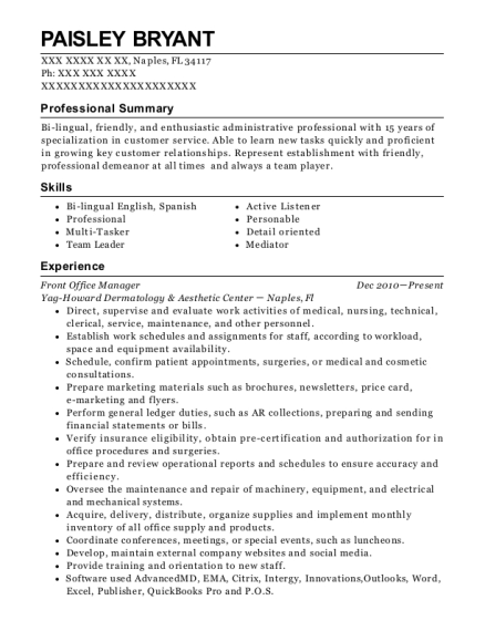 Front Office Manager resume format Florida