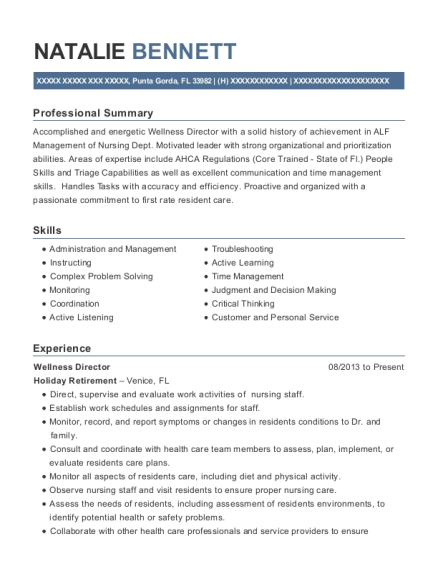 Wellness Director resume example Florida
