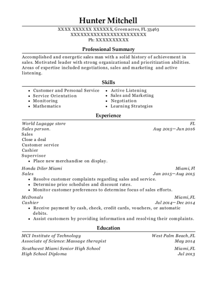 Sales person resume example Florida