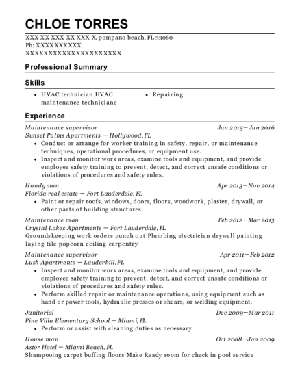 Maintenance Supervisor resume format Florida