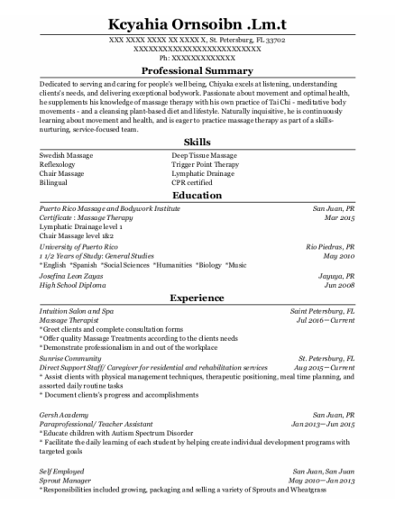 Direct Support Staff resume template Florida