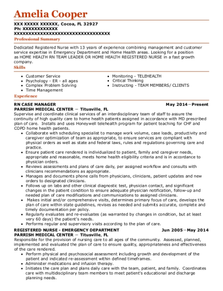 RN CASE MANAGER resume format Florida
