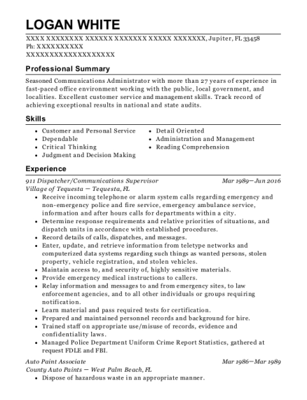 911 Dispatcher resume template Florida