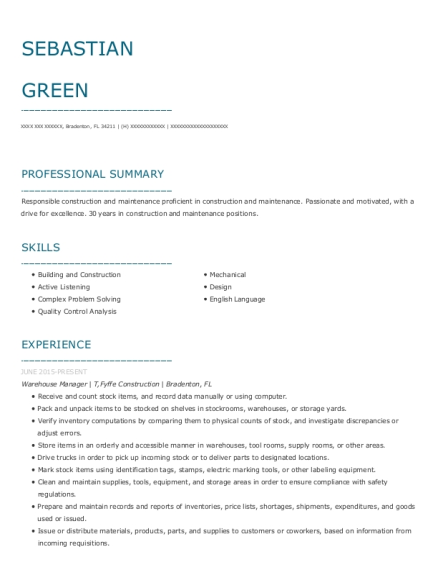 Warehouse Manager resume template Florida