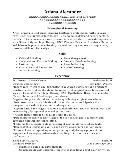 Surgical Technologist resume example Florida