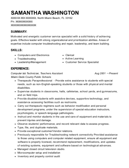 Computer lab Technician resume example Florida
