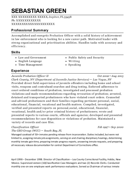 Juvenile Probation Officer II resume format Florida