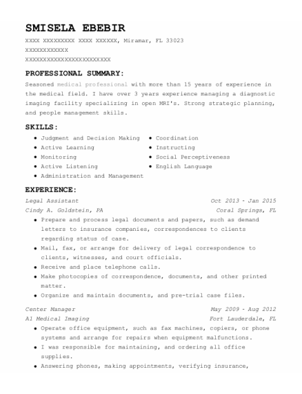 Legal Assistant resume sample Florida