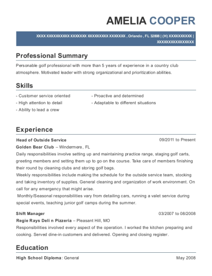 Head of Outside Service resume example Florida