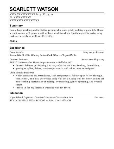 Crew Leader resume format Florida