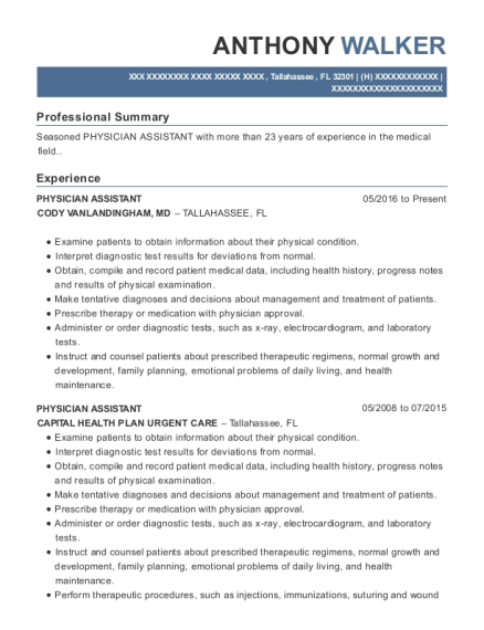 Physician Assistant resume template Florida