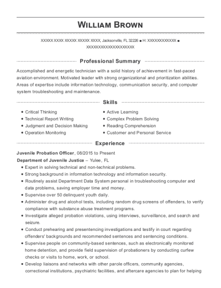 Juvenile Probation Officer resume template Florida
