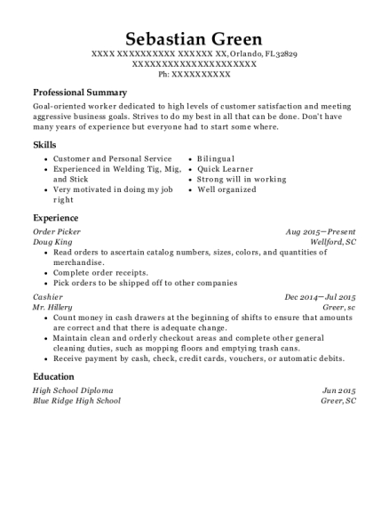 Order Picker resume format Florida