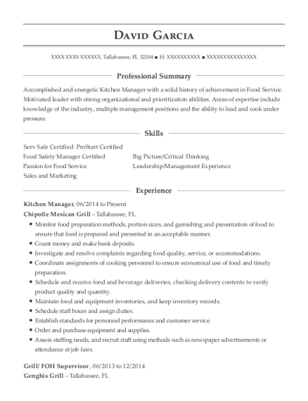 Kitchen Manager resume example Florida