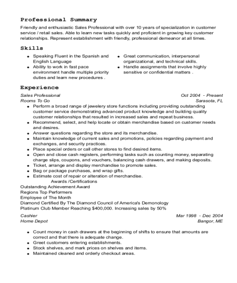 Sales Professional resume template Florida