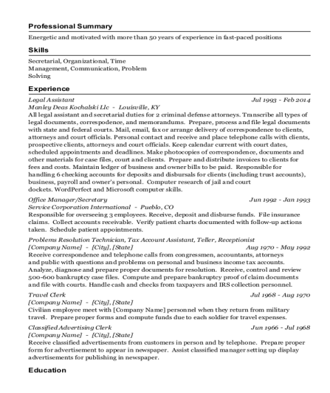 Legal Assistant resume template Florida