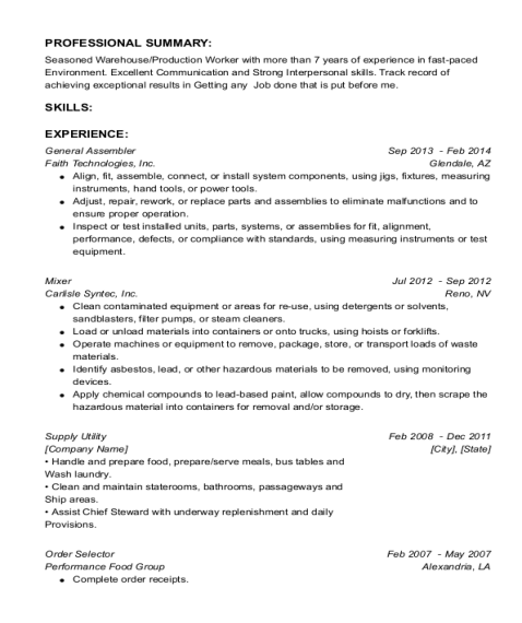 General Assembler resume sample Florida